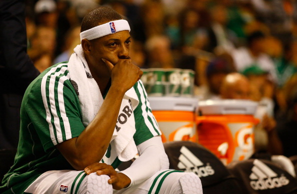 BOSTON, MA - NOVEMBER 02: Paul Pierce #34 of the Boston Celtics sits on the bench in the first half against the Milwaukee Bucks during the game on November 2, 2012 at TD Garden in Boston, Massachusetts. NOTE TO USER: User expressly acknowledges and agrees that, by downloading and or using this photograph, User is consenting to the terms and conditions of the Getty Images License Agreement.  (Photo by Jared Wickerham/Getty Images)