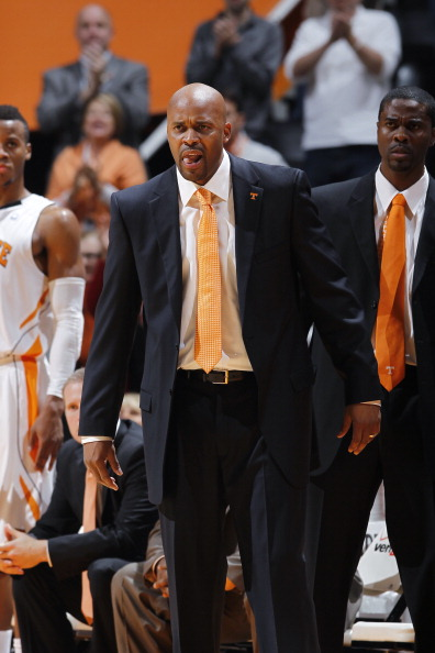 KNOXVILLE, TN - JANUARY 7: Tennessee Volunteers head coach Cuonzo Martin looks on during the game against the Florida Gators at Thompson-Boling Arena on January 7, 2012 in Knoxville, Tennessee. Tennessee defeated Florida 67-56. (Photo by Joe Robbins/Getty Images)