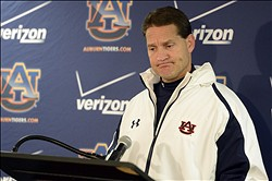 November 24, 2012; Tuscaloosa, AL, USA;  Auburn Tigers head coach Gene Chizik talks to the media following the Tigers 49-0 loss against the Alabama Crimson Tide at Bryant Denny Stadium. Chizik refused to address his coaching future at Auburn University. Mandatory Credit: John David Mercer-US PRESSWIRE