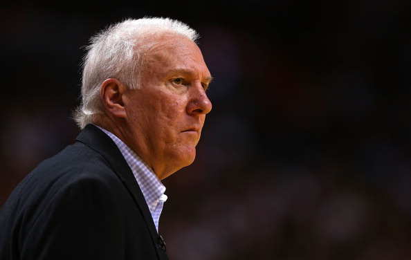 MIAMI, FL - NOVEMBER 29: San Antonio Spurs head coach Greg Popovich looks on during a game against the Miami Heat at American Airlines Arena on November 29, 2012 in Miami, Florida.  (Photo by Mike Ehrmann/Getty Images)