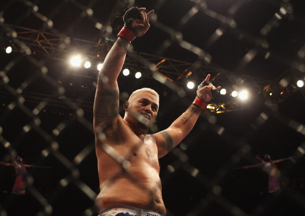 SYDNEY, AUSTRALIA - FEBRUARY 27:   Mark Hunt of Australia celebrates his win over Chris Tuchscherer of the United States during their heavyweight bout as part of UFC 127 at Acer Arena on February 27, 2011 in Sydney, Australia.  (Photo by Mark Kolbe/Getty Images)