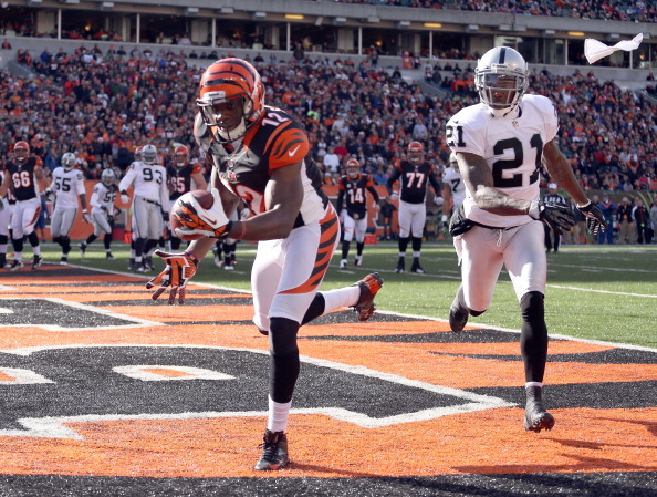 CINCINNATI, OH - NOVEMBER 25: Mohamed Sanu #12  of the Cincinnati Bengals catches a touchdown pass during the NFL game against the Oakland Raiders at Paul Brown Stadium on November 25, 2012 in Cincinnati, Ohio.  (Photo by Andy Lyons/Getty Images)