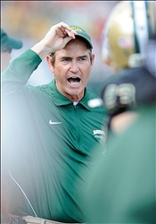 Dec 1, 2012; Waco, TX, USA; Baylor Bears head coach Art Briles yells instructions to his team during the second half against the Oklahoma State Cowboys at Floyd Casey Stadium. The Bears defeated the Cowboys 41-34. Mandatory Credit: Jerome Miron-USA TODAY Sports