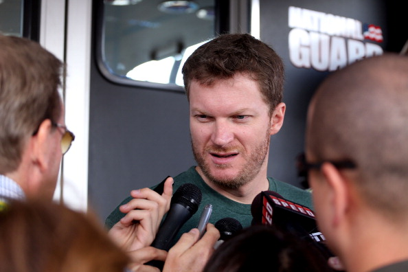 AVONDALE, AZ - NOVEMBER 09:  Dale Earnhardt Jr., driver of the #88 Diet Mountain Dew/National Guard Chevrolet, speaks to the media during practice for the NASCAR Sprint Cup Series AdvoCare 500 at Phoenix International Raceway on November 9, 2012 in Avondale, Arizona.  (Photo by Christian Petersen/Getty Images)