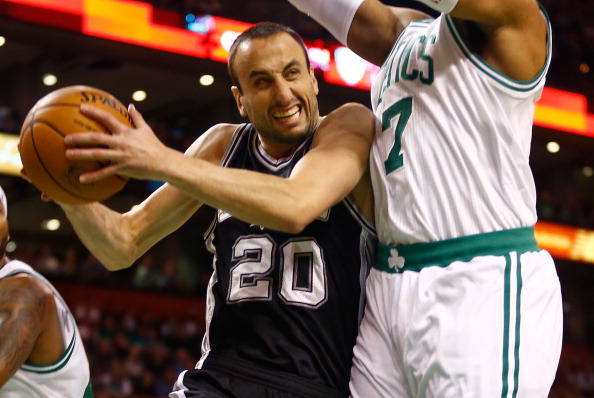 BOSTON, MA - NOVEMBER 21: Manu Ginobili #20 of the San Antonio Spurs drives to the basket in front of Jared Sullinger #7 of the Boston Celtics during the game at TD Garden on November 21, 2012 in Boston, Massachusetts. NOTE TO USER: User expressly acknowledges and agrees that, by downloading and or using this photograph, User is consenting to the terms and conditions of the Getty Images License Agreement. (Photo by Jared Wickerham/Getty Images)