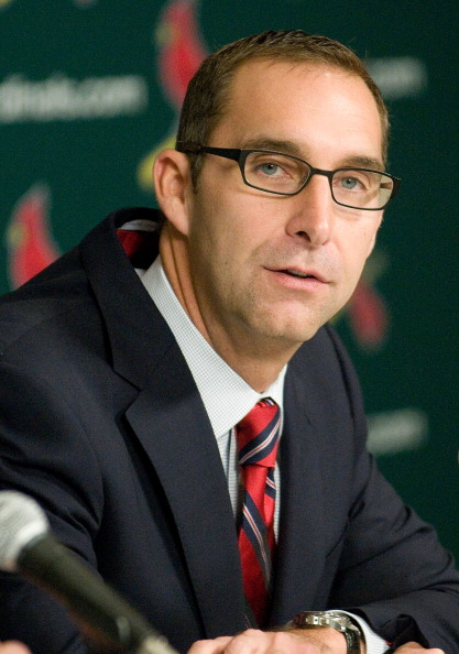 ST. LOUIS, MO - NOVEMBER 14: St. Louis Cardinals general manager John Mozeliak introduces Mike Matheny as the new manager during a press conference at Busch Stadium on November 14, 2011 in St. Louis, Missouri.  (Photo by Jeff Curry/Getty Images)