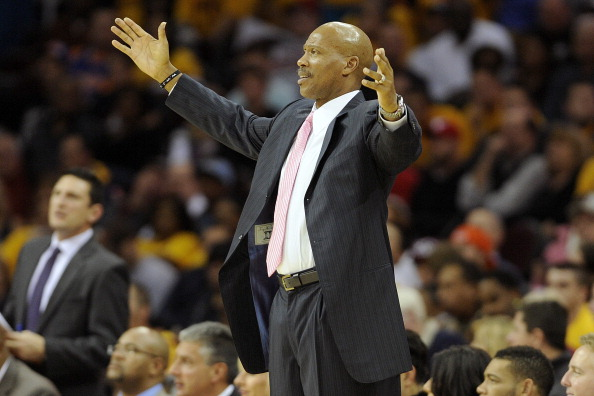 CLEVELAND, OH - OCTOBER 30: Head coach Byron Scott of the Cleveland Cavaliers reacts to an officials' call during the second half against the Washington Wizards at Quicken Loans Arena on October 30, 2012 in Cleveland, Ohio. NOTE TO USER: User expressly acknowledges and agrees that, by downloading and/or using this Photograph, user is consenting to the terms and conditions of the Getty Images License Agreement. (Photo by Jason Miller/Getty Images)