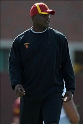Apr 5, 2012; Los Angeles, CA, USA; Southern California Trojans receivers coach Tee Martin during a spring practice at Howard Jones Field. Mandatory Credit: Kirby Lee/Image of Sport-USA TODAY Sports