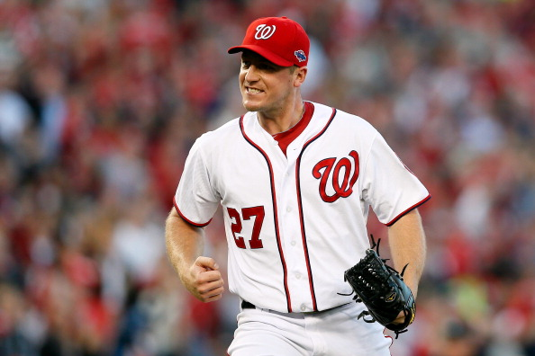 WASHINGTON, DC - OCTOBER 11:  Jordan Zimmermann #27 of the Washington Nationals reacts after he struck out the side in the top og the seventh inning against the St. Louis Cardinals during Game Four of the National League Division Series at Nationals Park on October 11, 2012 in Washington, DC.  (Photo by Rob Carr/Getty Images)
