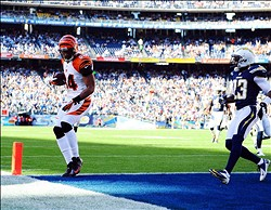 December 2, 2012; San Diego, CA, USA; Cincinnati Bengals tight end Jermaine Gresham (84) scores on a 19-yard touchdown reception during the first quarter against the San Diego Chargers at Qualcomm Stadium. Mandatory Credit: Christopher Hanewinckel-USA TODAY Sports