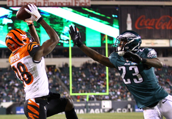 PHILADELPHIA, PA - DECEMBER 13:   A.J. Green #18 of the Cincinnati Bengals catches a touchdown against  Dominique Rodgers-Cromartie #23 of the Philadelphia Eagles during their game at Lincoln Financial Field on December 13, 2012 in Philadelphia, Pennsylvania.  (Photo by Al Bello/Getty Images)