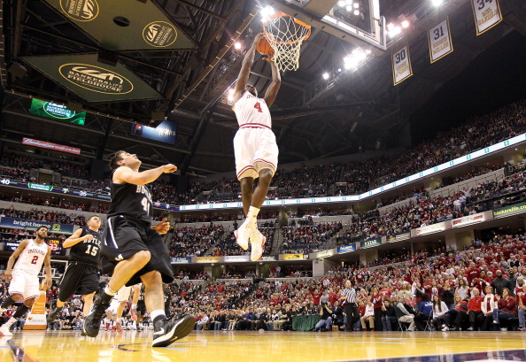 INDIANAPOLIS, IN - DECEMBER 15:  Victor Oladipo #4 of the Indiana Hoosiers dunks the ball during the game against the Butler Bulldogs during Boston Scientific Close The Gap Crossroads Classic at Bankers Life Fieldhouse on December 15, 2012 in Indianapolis, Indiana. Buler won 88-86 in overtime.  (Photo by Andy Lyons/Getty Images)