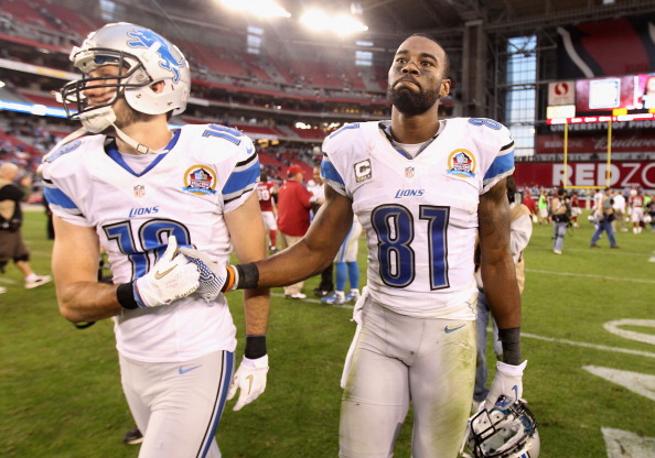 GLENDALE, AZ - DECEMBER 16:  Wide receiver Calvin Johnson #81 of the Detroit Lions reacts as he walks off the field following the NFL game against the Arizona Cardinals at the University of Phoenix Stadium on December 16, 2012 in Glendale, Arizona. The Cardinals defeated the Lions 38-10.  (Photo by Christian Petersen/Getty Images)