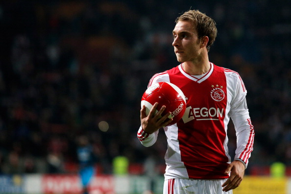 AMSTERDAM, NETHERLANDS - DECEMBER 01:  Christian Eriksen of Ajax gets ready to give a ball to the fans after victory in the Eredivisie match between Ajax Amsterdam and PSV Eindhoven at Amsterdam Arena on December 1, 2012 in Amsterdam, Netherlands.  (Photo by Dean Mouhtaropoulos/Getty Images)