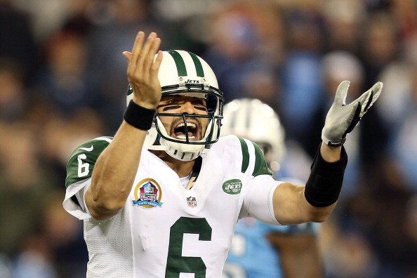 NASHVILLE, TN - DECEMBER 17:  Quarterback Mark Sanchez #6 of the New York Jets calls a play before he snaps the ball against the Tennessee Titans at LP Field on December 17, 2012 in Nashville, Tennessee.  (Photo by Andy Lyons/Getty Images)