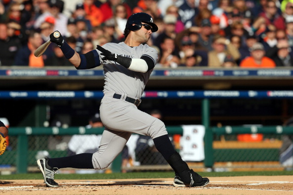 DETROIT, MI - OCTOBER 18:  Nick Swisher #33 of the New York Yankees bats against the Detroit Tigers during game four of the American League Championship Series at Comerica Park on October 18, 2012 in Detroit, Michigan. The Tigers won 8-1.  (Photo by Jonathan Daniel/Getty Images)