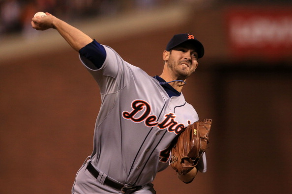 SAN FRANCISCO, CA - OCTOBER 24:  Rick Porcello #48 of the Detroit Tigers throws a pitch against the San Francisco Giants in the eighth inning during Game One of the Major League Baseball World Series at AT&T Park on October 24, 2012 in San Francisco, California.  (Photo by Doug Pensinger/Getty Images)