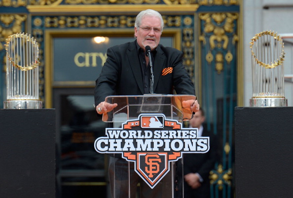 SAN FRANCISCO, CA - OCTOBER 31: Senior Vice President and General Manager Brian Sabean of the San Francisco Giants speaks to the San Francisco Giants fans during the Giants' victory parade and celebration on October 31, 2012 in San Francisco, California. The Giants celebrated their 2012 World Series victory over the Detroit Tigers.  (Photo by Thearon W. Henderson/Getty Images)