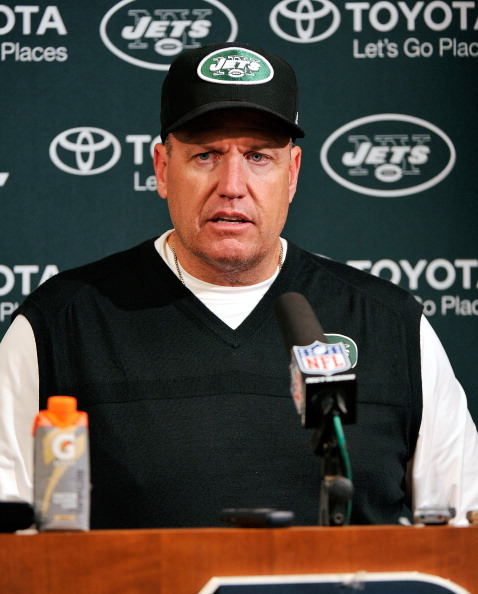 NASHVILLE, TN - DECEMBER 17:  Head coach Rex Ryan of the New York Jets takes questions from the media after a defeat by the Tennessee Titans at LP Field on December 17, 2012 in Nashville, Tennessee.  (Photo by Frederick Breedon/Getty Images)