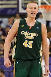 Nov 24, 2012; Seattle, WA, USA; Colorado State Rams forward/center Colton Iverson (45) during the game against the Washington Huskies at Alaska Airlines Arena. Colorado State defeated Washington 73-55. Mandatory Credit: Steven Bisig-USA TODAY Sports