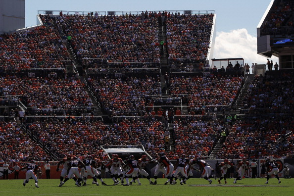 DENVER, CO - SEPTEMBER 18:  A general view of the stadium as the south endzone stands give the backdrop to the action as the Cincinnati Bengals face the Denver Broncos at Sports Authority Field at Mile High on September 18, 2011 in Denver, Colorado. The Broncos defeated the Bengals 24-22.  (Photo by Doug Pensinger/Getty Images)