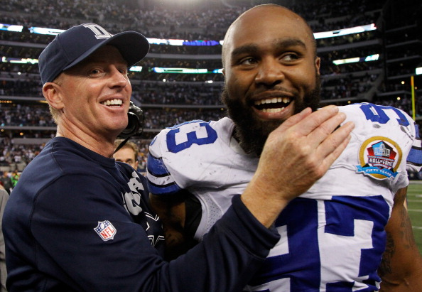 ARLINGTON, TX - DECEMBER 16:  Head coach Jason Garrett of the Dallas Cowboys celebrates with Anthony Spencer #93 of the Dallas Cowboys after the Dallas Cowboys beat the Pittsburgh Steelers 27-24 at Cowboys Stadium on December 16, 2012 in Arlington, Texas.  (Photo by Tom Pennington/Getty Images)