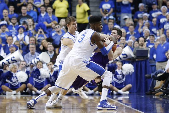 LEXINGTON, KY - DECEMBER 15: Nerlens Noel #3 and Jarrod Polson #5 of the Kentucky Wildcats force a turnover against Carter Sanderson #3 of the Lipscomb Bisons during the game at Rupp Arena on December 15, 2012 in Lexington, Kentucky. (Photo by Joe Robbins/Getty Images)