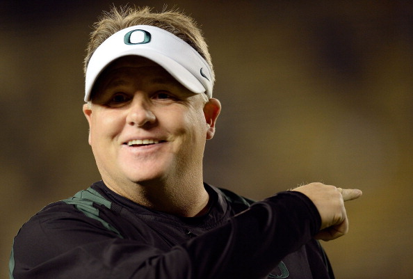 BERKELEY, CA - NOVEMBER 10:  Head Coach Chip Kelly of the Oregon Duck looks on during pre-game warm ups before their NCAA College football game against the California Golden Bears at California Memorial Stadium on November 10, 2012 in Berkeley, California.  (Photo by Thearon W. Henderson/Getty Images)