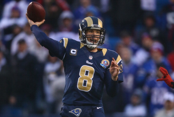 ORCHARD PARK, NY - DECEMBER 9: Sam Bradford #8 of the St. Louis Rams throws a pass during an NFL game against the Buffalo Bills at Ralph Wilson Stadium on December 9, 2012 in Orchard Park, New York. (Photo by Tom Szczerbowski/Getty Images)