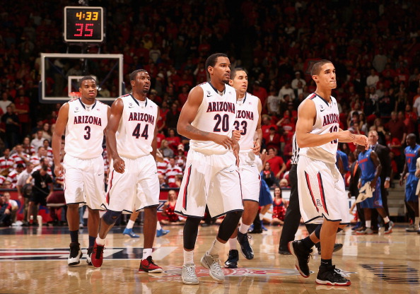 TUCSON, AZ - DECEMBER 15:  (L-R) Kevin Parrom #3, Solomon Hill #44, Jordin Mayes #20, Grant Jerrett #33 and Nick Johnson #13 of the Arizona Wildcats during the college basketball game against the Florida Gators at McKale Center on December 15, 2012 in Tucson, Arizona. The Wildcats defeated the Gators 65-64.  (Photo by Christian Petersen/Getty Images)