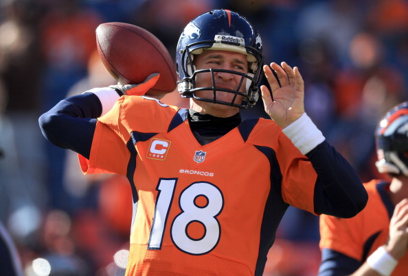 DENVER, CO - DECEMBER 23:  Quarterback Peyton Manning #18 of the Denver Broncos warms up prior to facing the Cleveland Browns at Sports Authority Field at Mile High on December 23, 2012 in Denver, Colorado. The Broncos defeated the Browns 34-12.  (Photo by Doug Pensinger/Getty Images)