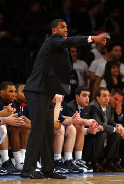 NEW YORK, NY - DECEMBER 04:  Head coach Kevin Ollie of the Connecticut Huskies directs his players in the first half against the North Carolina State Wolfpack during the Jimmy V Classic on December 4, 2012 at Madison Square Garden in New York City.  (Photo by Elsa/Getty Images)