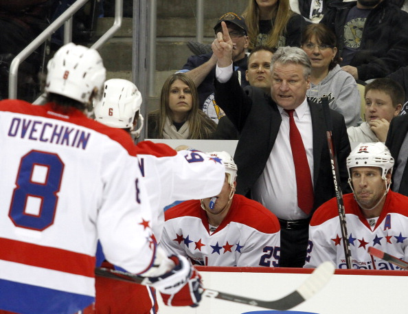 PITTSBURGH, PA - JANUARY 22:  Washington Capitals head coach Dale Hunter directs his team against the Pittsburgh Penguins during the game at Consol Energy Center on January 22, 2012 in Pittsburgh, Pennsylvania.  (Photo by Justin K. Aller/Getty Images)