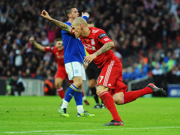LONDON, ENGLAND - FEBRUARY 26:  Martin Skrtel of Liverpool celebrates as he scores their first goal during the Carling Cup Final match between Liverpool and Cardiff City at Wembley Stadium on February 26, 2012 in London, England.  (Photo by Mike Hewitt/Getty Images)