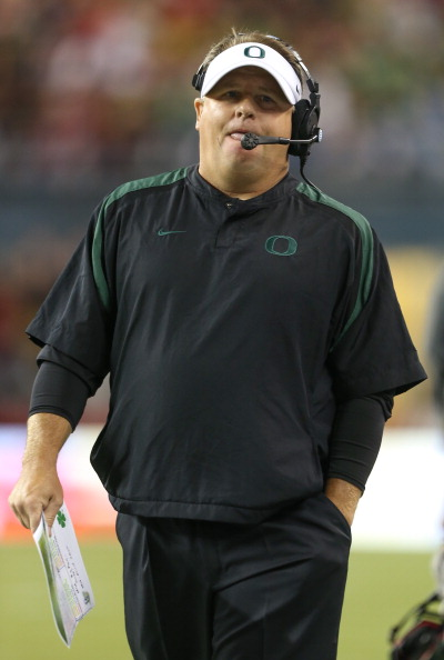 SEATTLE, WA - SEPTEMBER 29:  Head coach Chip Kelly of the Oregon Ducks looks on against the Washington State Cougars on September 29, 2012 at CenturyLink Field in Seattle, Washington. The Ducks defeated the Cougars 51-26.  (Photo by Otto Greule Jr/Getty Images)
