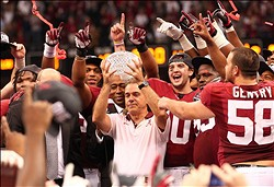 Jan 9, 2012; New Orleans, LA, USA;  Alabama Crimson Tide coach Nick Saban holds the BCS National Championship trophy after his team defeated the LSU Tigers 21-0 at the Louisiana Superdome.  Mandatory Credit: Marvin Gentry-USA TODAY Sports