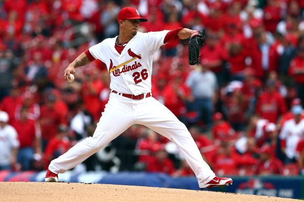 ST LOUIS, MO - OCTOBER 17:  Kyle Lohse #26 of the St. Louis Cardinals pitches in the first inning against the San Francisco Giants in Game Three of the National League Championship Series at Busch Stadium on October 17, 2012 in St Louis, Missouri.  (Photo by Elsa/Getty Images)