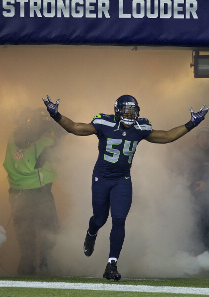 SEATTLE, WA - DECEMBER 23: Bobby Wagner #54 of the Seattle Seahawks takes the field before a game against the San Francisco 49ers at CenturyLink Field on December 23, 2012 in Seattle, Washington.  (Photo by Stephen Brashear/Getty Images)