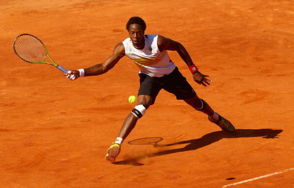 ROME, ITALY - MAY 15:  Gael Monfils of France plays a forehand against Juan Carlos Ferrero of Spain in their second round match during day four of the Internazionali BNL d'Italia 2012 at the Foro Italico Tennis Centre  on May 15, 2012 in Rome, Italy.  (Photo by Clive Brunskill/Getty Images)