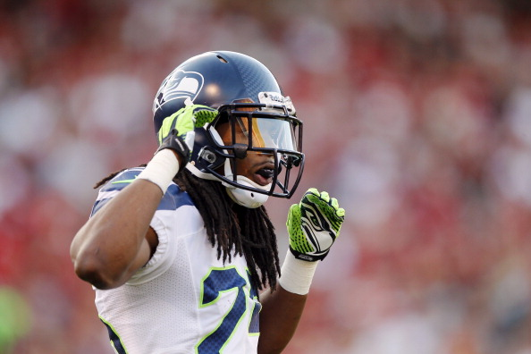 SAN FRANCISCO, CA - OCTOBER 18:  Cornerback Richard Sherman #25 of the Seattle Seahawks looks for directions against the San Francisco 49ers in the first quarter on October 18, 2012 at Candlestick Park in San Francisco, California.  The 49ers won 13-6.  (Photo by Brian Bahr/Getty Images)