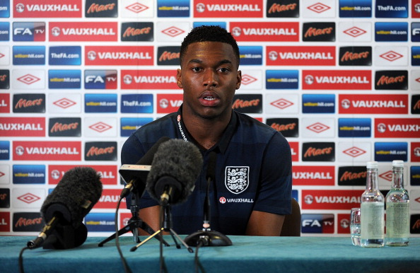 MANCHESTER, ENGLAND - NOVEMBER 12:  Daniel Sturridge of England speaks to the media during a press conference ahead of the friendly match against Sweden at the Lowry Hotel on November 12, 2012 in Manchester, England.  (Photo by Chris Brunskill/Getty Images)