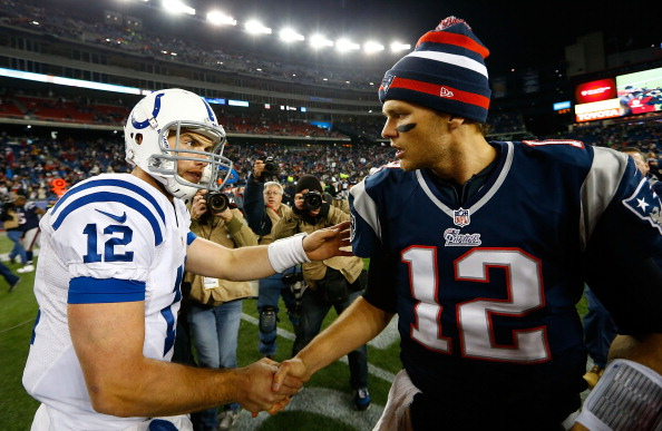 FOXBORO, MA - NOVEMBER 18: Andrew Luck #12 of the Indianapolis Colts shakes hands with Tom Brady #12 of the New England Patriots following their game on November 18, 2012 at Gillette Stadium in Foxboro, Massachusetts.  (Photo by Jared Wickerham/Getty Images)