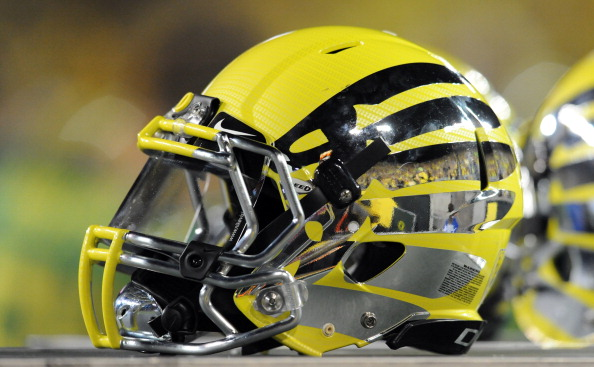 EUGENE, OR - OCTOBER 6: Close-up of the Oregon Ducks 'Liquid Metal' helmet during the the game between the Oregon Ducks and the Washington Huskies on October 6, 2012 at Autzen Stadium in Eugene, Oregon. Oregon won the game 52-21. (Photo by Steve Dykes/Getty Images)