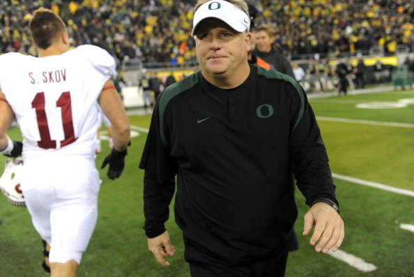EUGENE, OR - NOVEMBER 17: Head coach Chip Kelly of the Oregon Ducks walks off the field after the game against the Stanford Cardinal at Autzen Stadium on November 17, 2012 in Eugene, Oregon. Stanford won the game 17-14 in overtime. (Photo by Steve Dykes/Getty Images)