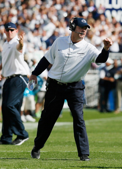 STATE COLLEGE, PA - SEPTEMBER 15: Head coach Bill O'Brien of the Penn State Nittany Lions celebrates after the Nittany Lions scored a first quarter touchdown against the Navy Midshipmen at Beaver Stadium on September 15, 2012 in State College, Pennsylvania.  (Photo by Rob Carr/Getty Images)