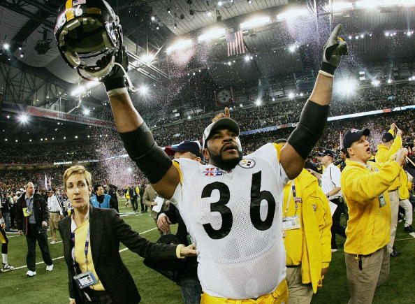 DETROIT - FEBRUARY 05:  Running back Jerome Bettis #36 of the Pittsburgh Steelers celebrates on the field after defeating the Seattle Seahawks in Super Bowl XL at Ford Field on February 5, 2006 in Detroit, Michigan. Bettis announced his retirement after the Steelers defeated the Seahawks 21-10.  (Photo by Harry How/Getty Images)