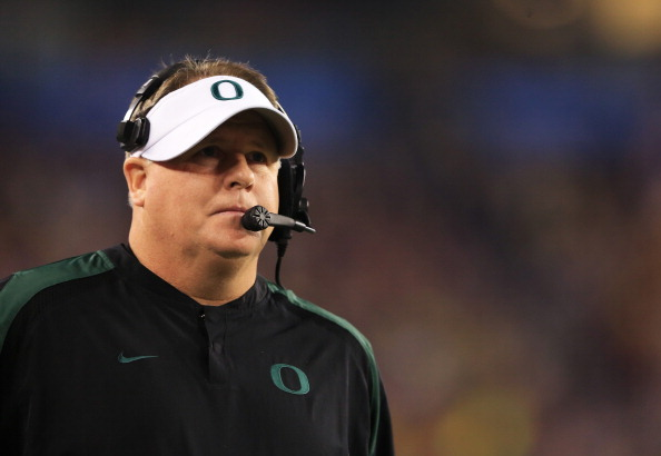 GLENDALE, AZ - JANUARY 03:  Head coach Chip Kelly of the Oregon Ducks looks on in the third quarter of the Tostitos Fiesta Bowl against the Kansas State Wildcats at University of Phoenix Stadium on January 3, 2013 in Glendale, Arizona.  (Photo by Doug Pensinger/Getty Images)