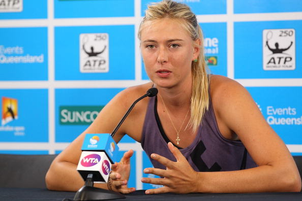 BRISBANE, AUSTRALIA - JANUARY 01:  Maria Sharapova of Russia announces her withdrawal from the tournament on day three of the Brisbane International at Pat Rafter Arena on January 1, 2013 in Brisbane, Australia.  (Photo by Chris Hyde/Getty Images)