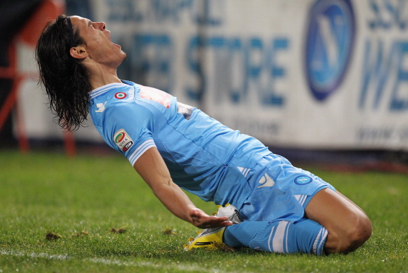 NAPLES, ITALY - JANUARY 06:  Edinson Cavani of Napoli celebrates after scoring the opening goal during the Serie A match between SSC Napoli and AS Roma at Stadio San Paolo on January 6, 2013 in Naples, Italy.  (Photo by Maurizio Lagana/Getty Images)