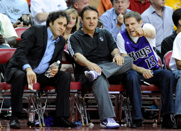 LAS VEGAS - OCTOBER 13:  (L-R) Brothers George Maloof, Gavin Maloof and Joe Maloof watch a preseason game between the Sacramento Kings and the Los Angeles Lakers at the Thomas & Mack Center October 13, 2010 in Las Vegas, Nevada. The Lakers won 98-95. NOTE TO USER: User expressly acknowledges and agrees that, by downloading and/or using this Photograph, user is consenting to the terms and conditions of the Getty Images License Agreement.  (Photo by Ethan Miller/Getty Images)